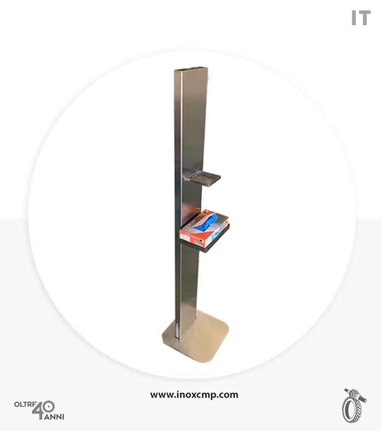 colonnina-piantana-porta--gel-dispenser-igienizzante-in-acciaio-inox-con-porta-guanti-inoxcmpsrl-01